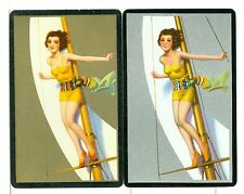 """Two Single Playing Cards Pin Up """"Sailing"""" Congress 1940's"""
