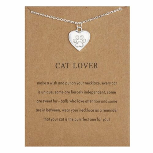 Fashion Women Animal Heart Necklace Charms Pendant Clavicle Chain Jewelry Card
