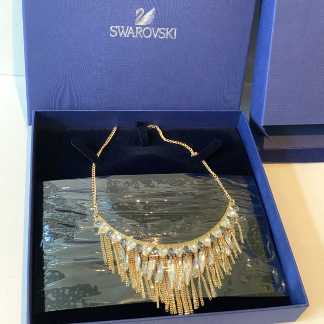 Swarovski Large Necklace Gypsy Blue Rose Gold Plating Sparkling Boxed RRP £200