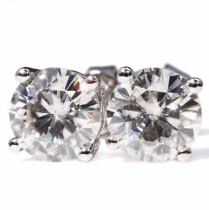 14K-White-Gold-FN-2-00Ct-Round-Cut-Gorgeous-Moissanite-Solitaire-Stud-Earrings