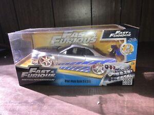 "8/"" Fast And Furious 2002 Brian/'s Nissan Skyline GTR R34 1:24 Diecast Toy Car"