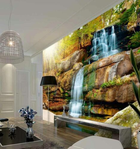 Illuminated Sunset Waterfall Full Wall Mural Photo Wallpaper Print Home 3D Decal