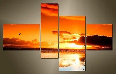 """LARGE SEASCAPE SUNSET CANVAS WALL PICTURE SPLIT 4 PANELS FLASH ART 43"""" 28"""" 0346"""