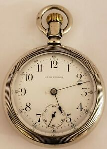 Antique-Working-1909-SETH-THOMAS-New-Eagle-Series-Gents-Silver-Pocket-Watch-18s