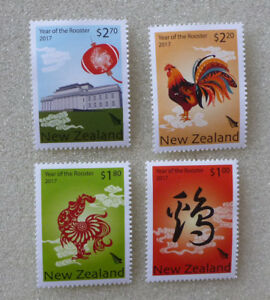 2017-NEW-ZEALAND-YEAR-OF-THE-ROOSTER-SET-OF-4-MINT-STAMPS