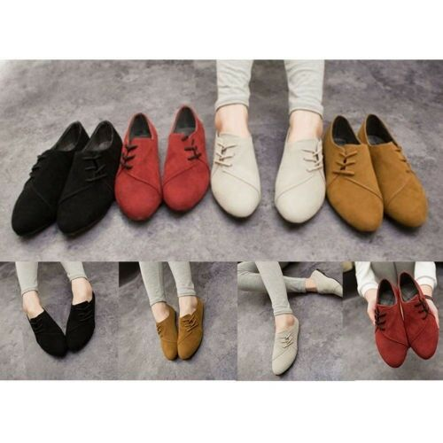 Womens Nubuck Leather Flats Loafers Ladies Lace Up Ballerina Ballet Pumps Shoes