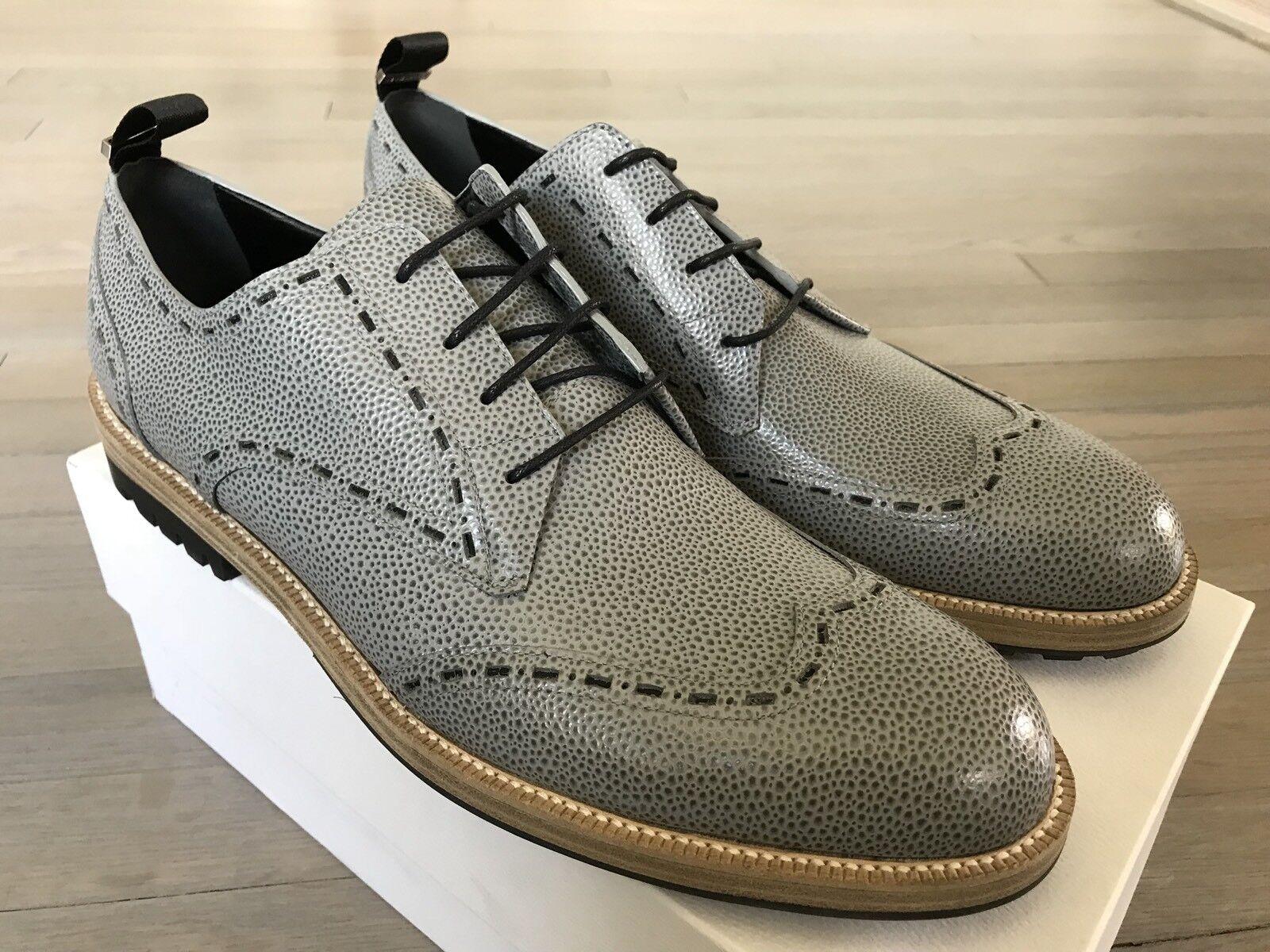 800$ Balenciaga 13, Gray Leather Oxfords size US 13, Balenciaga Made in Italy 303896