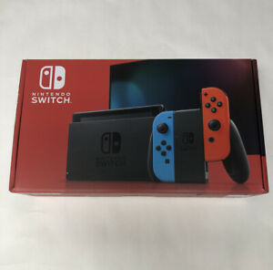 Nintendo-Switch-32GB-Gray-Console-with-Neon-Red-and-Neon-Blue-Joy-Con-In-Hand