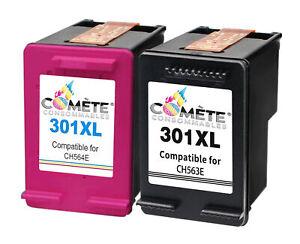 2-Cartouches-HP-301XL-301-XL-CH563E-CH564E-Noir-Couleurs-Comete-France