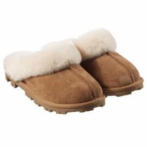 NEW-Kirkland-Signature-Women-039-s-Chestnut-Ladies-Sheepskin-Shearling-Slippers-NIB