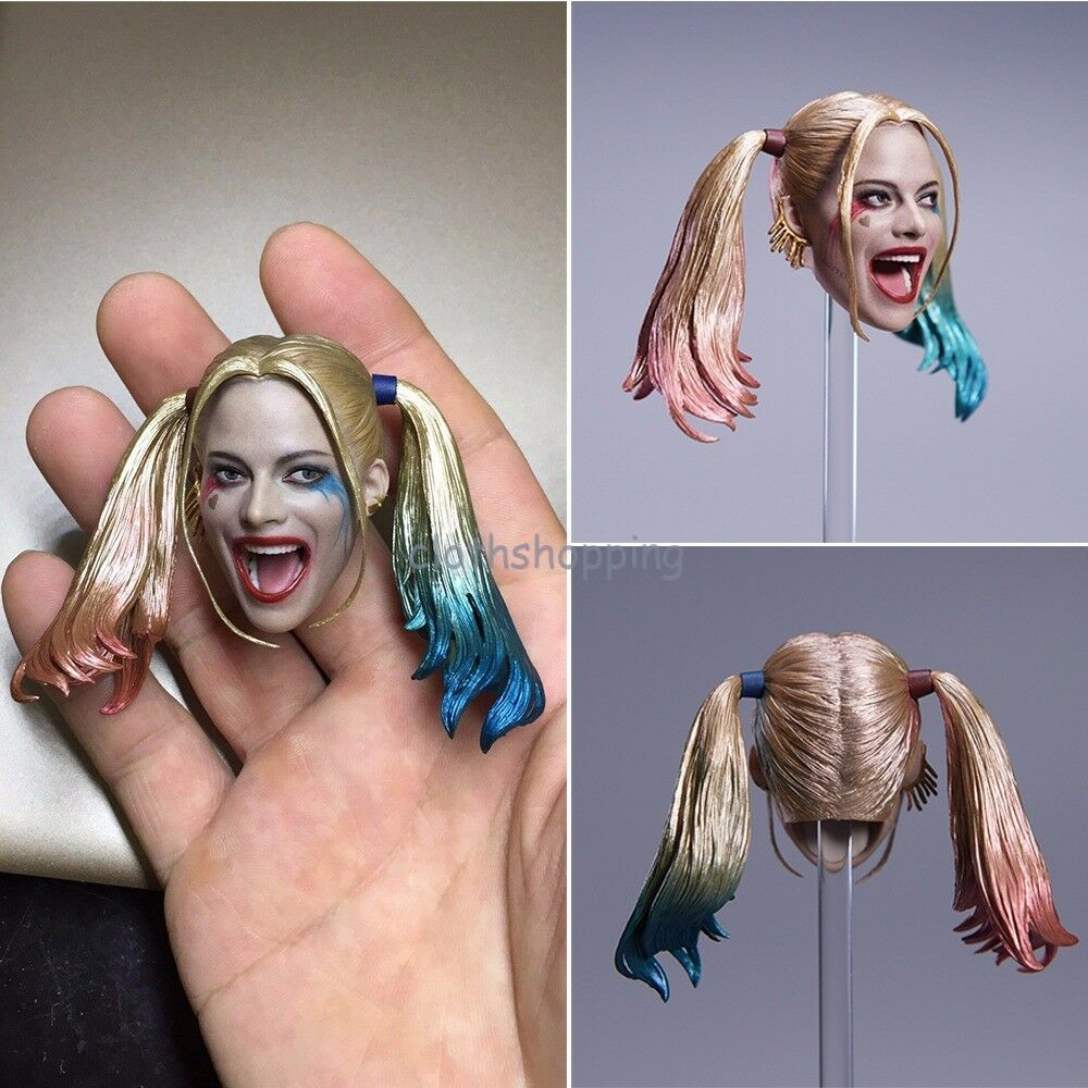 1 6 Harley Quinn Female Joker Head Sculpt Figure Model For 12'' Body Hot Toys