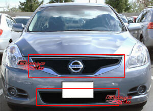 Custom Fits 2010 2012 Nissan Altima Coupe Black Mesh Grill Combo