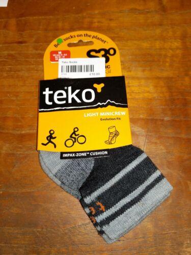 Teko Organic SIN3RGI Light Minicrew Evolution Fit Mens Grey Socks - Medium