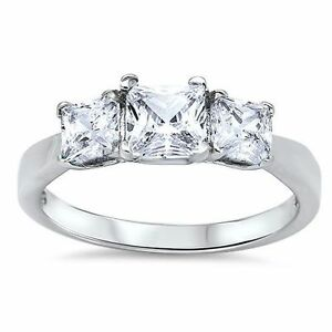 STERLING SILVER 3 Stone CZ Promise Engagement Ring Plus Size 10 11 12 13 T V X Z
