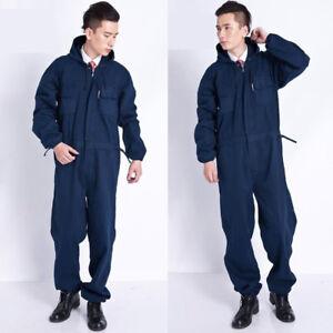 f6cd0391c5d6 Image is loading Men-Mechanic-Coveralls-Overalls-Denim-Jeans -Workwear-Boiler-