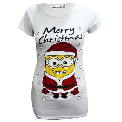 New Womens Christmas Print Stretch T-shirts Tops 8-20