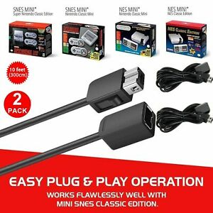 2PCS-10ft-Controller-Extension-Cable-Cord-For-Super-Nintendo-NES-Classic-Edition