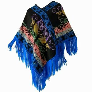 Vintage-70s-Mexican-Peacock-Embroidered-Metallic-Rainbow-Bohemian-Fringe-Poncho
