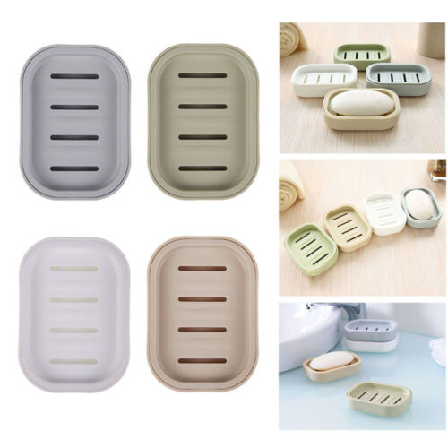 Water Draining Soap Dish Case Holder Drainer Soap Saver Stand Storage Box  IS