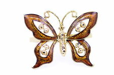 Vintage style gold and orange butterfly double finger ring