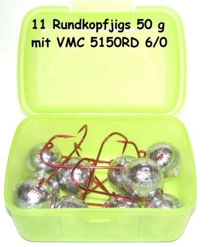 Jigkopf Rundkopfjig 50 g Jig Head VMC 6//0-11 Stück in praktischer Box