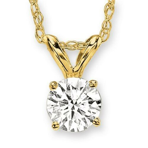0.10ct, HIJ color, I3 clarity Round Solitaire Diamond Pendant Plus Yellow Gold