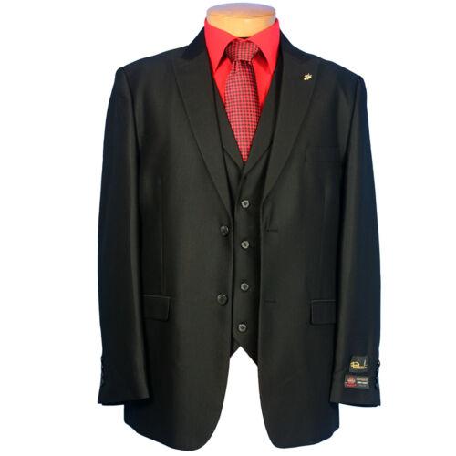 NWT LUXURY MEN/'S SUIT BY FALCONE 5106-000 BLACK COLOR 3PC SET REG.$399