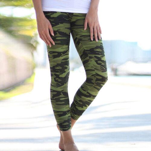 Damen Tarnung Sport Leggings Weich Fitness Yoga Gym Jogger Hose Laufhose Pants