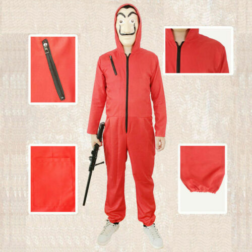 Salvador Dali La Casa De Papel Money Heist Jumpsuit Mask Party Cosplay Costume