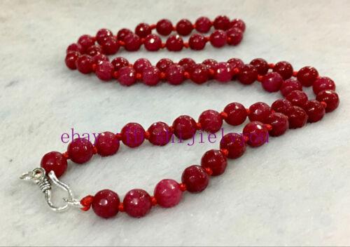 FINE 6 mm rubis jade Facette Rondelle Pierres Précieuses Perles Collier Argent 925 Fermoir AAA