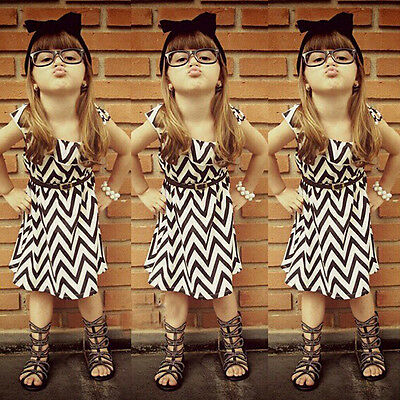 New 1PCS Baby Girls Clothes Wave Dress Kids Party Outfits Sets for 5-6Y