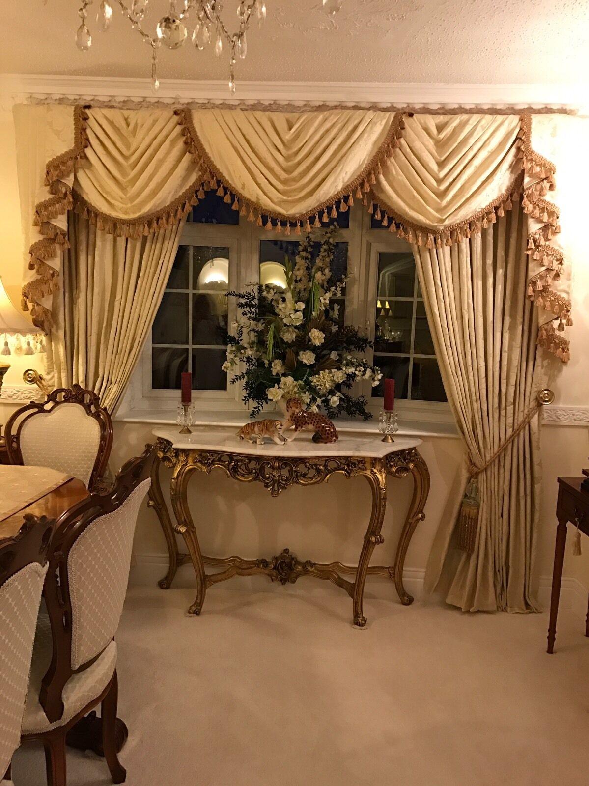 Notre nouveau Damask Designer festons et Queues & RIDEAUX GLANDS GLANDS RIDEAUX entièreHommes t doublé or 2baa9d