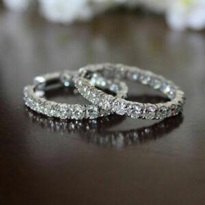Lovely-2-00-CT-Round-Cut-Diamond-14K-White-Gold-Fn-Hoop-Earrings-For-Women-039-s
