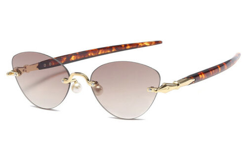 Rimless Cat Eye Sunglasses Women Semi Frame Glasses Round Fashion Style Vintage