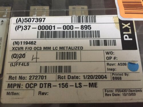 Fibre Channel FDDI NEW OCP DTR-156-LS-ME OC3 MM LC Transceiver TATM//SONET//SDH