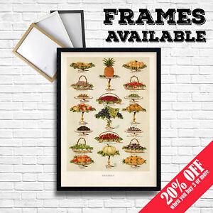 Details zu FRUITS Print, Vintage Food Posters Botanical Home Kitchen  Restaurant Cafe Decor