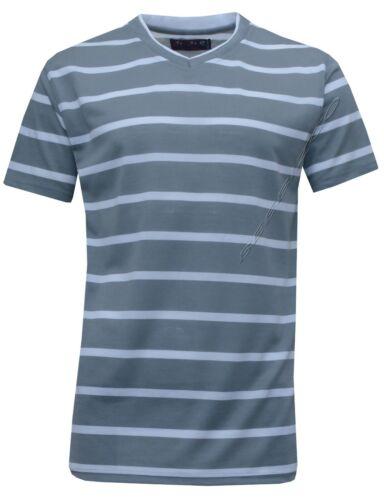 New Mens Short Sleeve Yarn Dyed Stripe V Neck T XXL Shirt Top Casual S