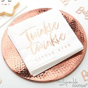 METALLIC-ROSE-GOLD-TWINKLE-TWINKLE-PAPER-NAPKINS-Baby-Shower-1st-Birthday-Party