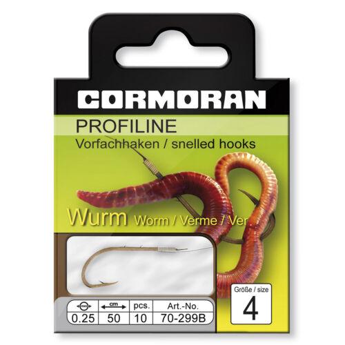 brüniert Profiline Wurmhaken Cormoran 50cm 0,18mm Gr.10-10 St.