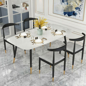 034-Contemporary-Modern-White-Marble-5Pc-Dining-Set-Table-amp-Four-Chairs-034