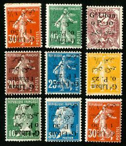 Lebanon Stamps # 22-31 VF 9 Various Inverts OG H