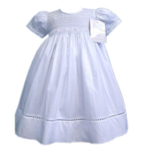 Baby Girls Classic MAIN SMOCKS Blanc Baptême communion Église Robe 17899