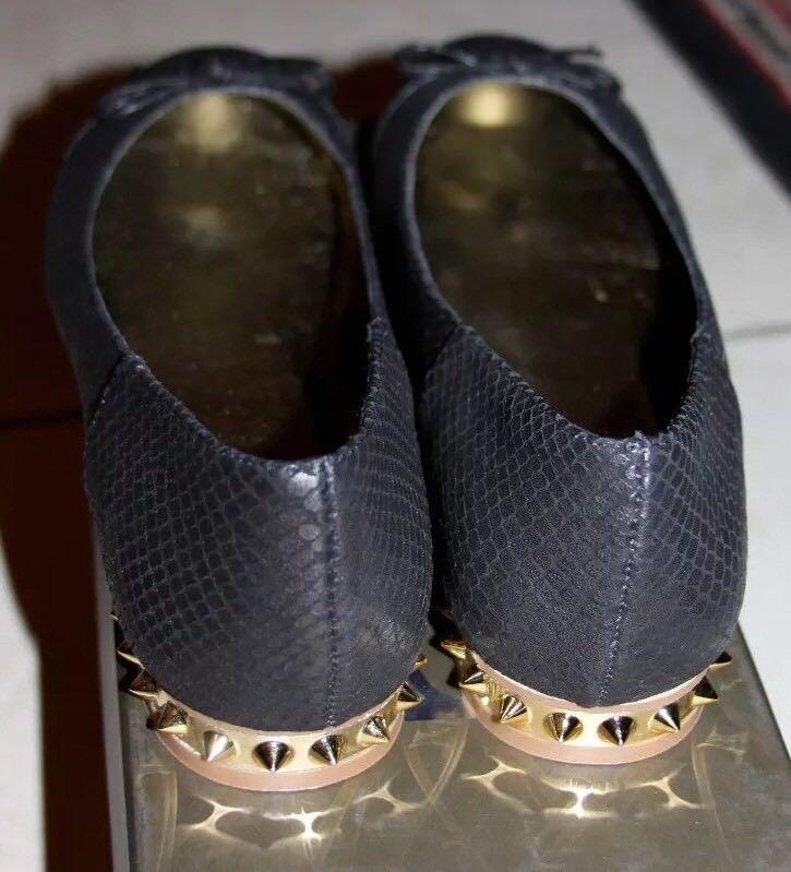 bebe MILLIE  BLACK COLOR BALLET W/TOE CAP FLATS SIZE 8
