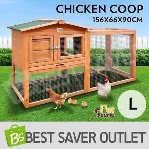Chicken Coop Ferret Guinea Pig Rabbit Hutch Hen Cage House 2 Storey Wooden