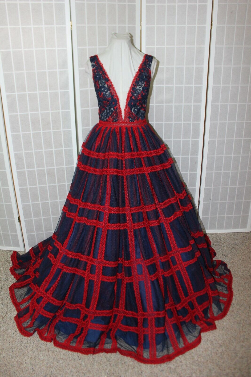 NWT Sherri Hill 53505 Navy & RED lace size 6 Ball gown PROM dress,