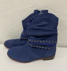 NEW Twiggy London Blue Suede Ankle