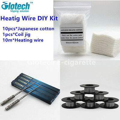 Coil Jig+10m 0.32mm Heating wire+10pcs Japanese Cotton DIY Kit for RDA RBA vape