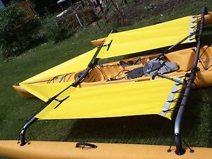 yellow-Hobie-Adventure-Tandem-Kayak-Trampoline-amp-splash-shield-2014-down