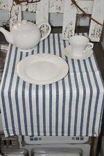 Artefina, Tischläufer gestreifte Baumwolle, weiß/blau