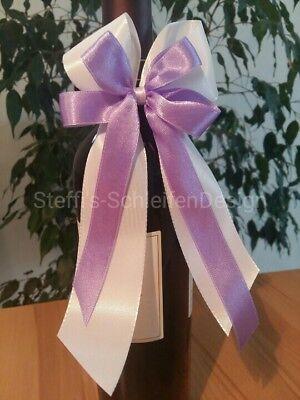 10 Antennenschleifen Autoschleifen Schleifen Hochzeitsdeko weiß lila aubergine